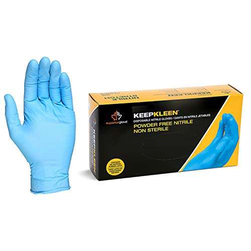 Superior Glove Works RDCNPF KeepKleen Contour Nitrile Glove, Work, Disposable, Powder Free, 4mil Thickness, 9-Inch Length, Medium (Box of 100)
