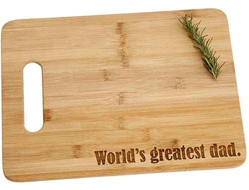 World's Greatest Dad Engraved Bamboo Wood Cutting Board with Handle Father Birthday Best Father's Day Gift