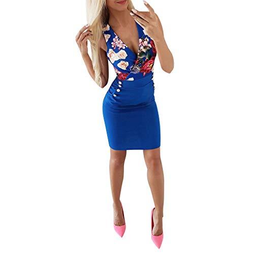 DQANIU- Blau, M Sexy Kleid, Kleidung Schuhe & Accessoires - Kleid Damen Sommer Mode Kleid Sexy V-Ausschnitt Rose Printed Button Kleid