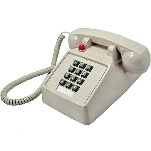 VERDELZ TeléFono Retro Vintage, BotóN Vintage, MáQuina TelefóNica Antigua TeléFono Fijo Americano con Llamada MecáNica - Beige