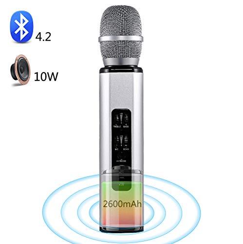 SHENGY Karaoke de micrófono inalámbrico, micrófonos Bluetooth con Altavoz, Altavoz 5W * 2, para Picnic Familiar en el hogar, música para Fiestas en el hogar, Android, iPhone, iPad, PC,Silver