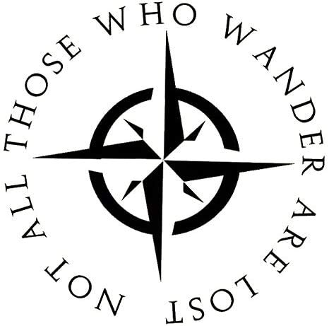 Valiant Collections LOTR Not All who Wander are Lost Decal Sticker Notebook Car Laptop 5.5' Inches |Black| VC-327
