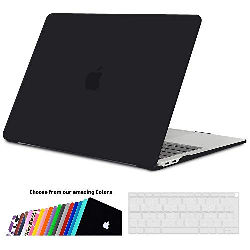 iNeseon MacBook Air 13-Zoll Hülle Case 2020/2019/2018 (Model A2179/A1932), Plastik Case Schutzhülle + Tastaturschutz für MacBook Air 13 Retina mit Touch ID, Schwarz
