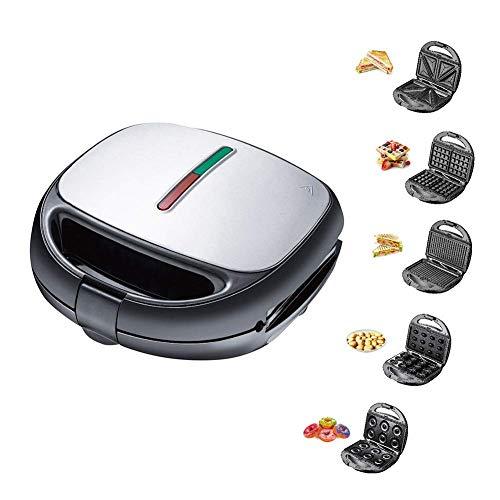 GCE Elektrischer Waffeleisen 5 in 1 Multifunktions-Schnellmaschine für schnelles Frühstück abnehmbare Premium-Backform mit Antihaftbeschichtung für Waffeln Donuts Sandwich Steak Panini-Ges
