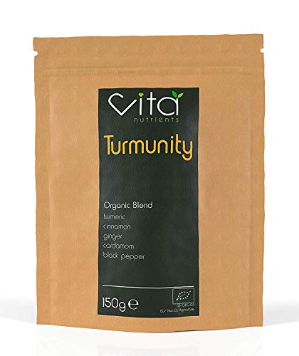 Vita Nutrients | Turmunity | Premium Organic Superfood Powder 150g | Vegan & Gluten Free | Rich Ayurveda Blend, Containing Turmeric and Black Pepper | Ideal Turmeric Latte Mix | 60 Servings | UK Made