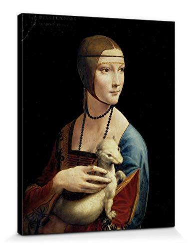 1art1 Leonardo Da Vinci - Dame Mit Dem Hermelin, ca. 1490 Bilder Leinwand-Bild Auf Keilrahmen | XXL-Wandbild Poster Kunstdruck Als Leinwandbild 50 x 40 cm