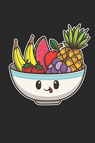 Notizbuch: 109 Seiten A5 - Liniert - Tolles Geschenk für Kinder und Freunde - Süße Lustige Kawaii Chibi Obstschale - Bunte Exotische Früchte
