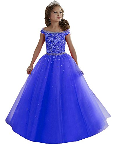Lilibridal Little Girls Birthday Party Ball Gowns Beaded Kids Pageant Dress LLB054 , Royal Blue 3 , 10