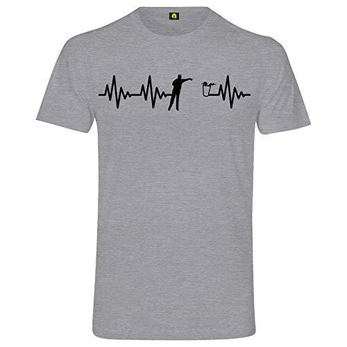 Herzschlag Bier Pong T-Shirt | EKG | Bierpong | Beer | Beerpong | Party Alkohol Grau Meliert XL