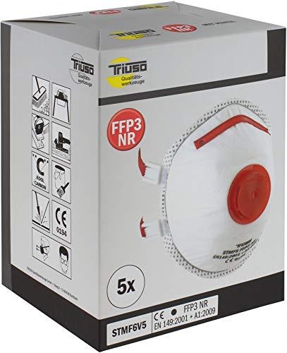 Preisvergleich Produktbild Triuso FFP3 Ventil Schutzmaske 5 Stück Industrie Mundschutz