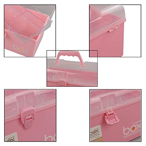 Pekky Plastic Small Handle Storage Box for Art Craft and Cosmetic (Pink)