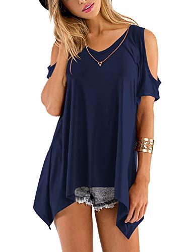 Beluring Tops Damen Sommer T Shirt Oberteil Tops Bluse mit V Ausschnitte, A-dunkelblau, 52-54 (Herstellergröße: XL)