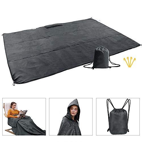 OurLeeme wasserdichte Decke, 2 in 1 Picknickdecke mit warmem Fleece Tragbare Poncho-Decke 140 * 200 cm Extra groß für Picknick-Reisesportarten