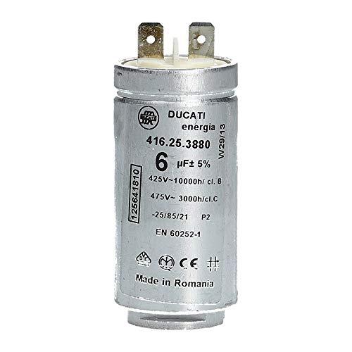 Kondensator Anlauf- Motorkondensator 6 µF uF 425/475V für Trockner Electrolux AEG 125641810 125641810/2 Zanker Zanussi ArthurMartin