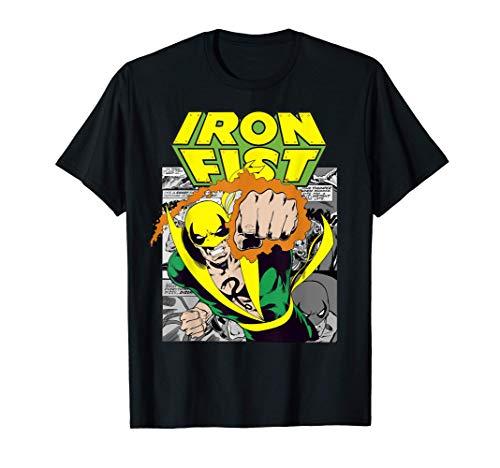 Marvel Iron Fist Retro Comic Panel Art Punch Camiseta