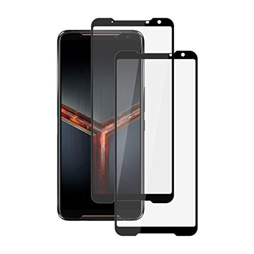 XunEda ASUS ROG Phone II ZS660KL 6.59' Protector de Pantalla, Protector Completo Cristal Templado Alta Definicion Cristal Screen Protector para ASUS ROG Phone II ZS660KL Smartphone (Negro-2 Pack)