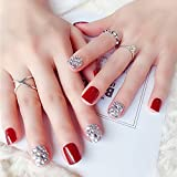 Zhou-YuXiang Fashion The Bride Uñas postizas Uñas postizas Desmontables Uñas postizas Bonitas Puntas de uñas Completas para Dama de tamaño Corto