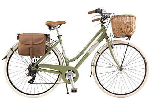 Via Veneto By Canellini Fahrrad Rad Citybike CTB Frau Vintage Retro Via Veneto Alluminium (Grun Olive, 46)
