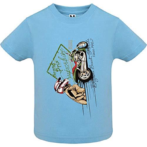 LookMyKase T-Shirt - Super Bike Rider - Bébé Garçon - Bleu - 6mois