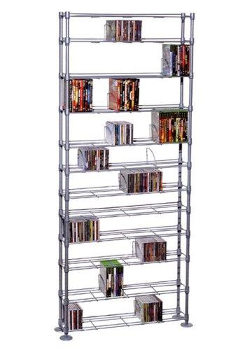 Atlantic Maxsteel 12 Tier Shelving - Heavy Gauge Steel Wire Media Shelving for 864 CDs, 450 DVDs, BluRay or Games PN63135237 in Silver