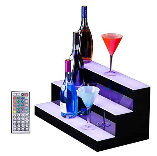 Botellero para Vino Estante exhibición Botella Licor Iluminado LED Estante de La Botella de Color Estante de Copa de Vino Decoraciones para Inicio un Bar Clubs Discoteca,100 * 33 * 21cm