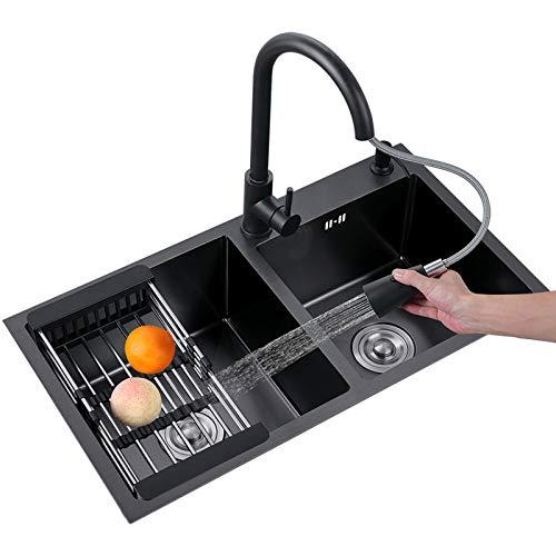 MLMQ Fregadero de Cocina Negro 2 Senos, Lavabo Cocina Acero Inoxidable con Sifón Automático, Fregadero Empotrado Restaurante,With tap,78X43cm
