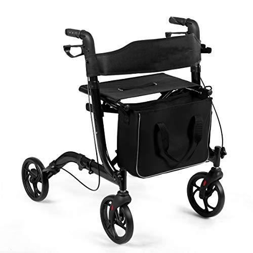 COSTWAY Aluminium Rollator, Reiserollator faltbar, Leichtgewichtrollator höhenverstellbar, mit abnehmbarem Aufbewahrungsbeutel, Einbrennlackierung, für Senioren und Erwachsene, schwarz