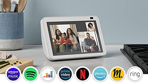 Nouvel Echo Show 8 (2e génération, modèle 2021)   Écran connecté HD avec Alexa et caméra 13 Mpx   Blanc