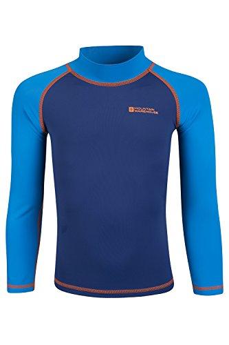 Mountain Warehouse Camiseta térmica para niños - Camiseta térmica con protección UV, Camiseta térmica de Manga Larga para niños, Costuras Planas Azul 13 Años