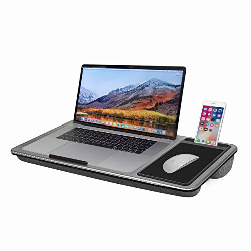 SEFFO Lap Desk Laptop Stand Portable Tray With Cushion, Built-In Mouse Pad And Phone Holder, Up To 15' (Grey)