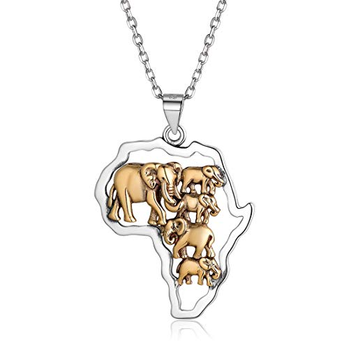 Africa Map Elephants Necklace 925 Sterling Silver Animal Pendant with Chain 18 Inch Ethnic Fashion Jewelry Gift for Mum Men Women Accessories