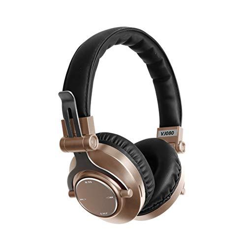 YPJKHM Head-Mounted Wireless Bluetooth Headset 5.0 Mobile Música Sport Stereo Universal Headset-Gold