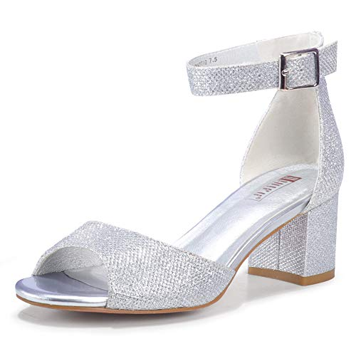 IDIFU Women's Candie Low Block Heels Sandals Peep Toe Chunky Ankle Strap Wedding Dress Shoes (11 M US, Silver Glitter)