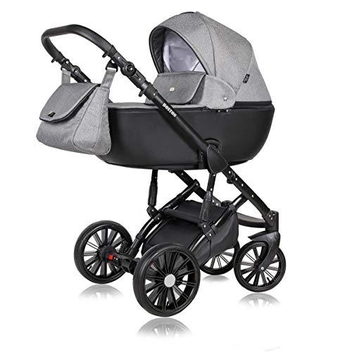 Kinderwagen 3 in 1 Komplettset mit Autositz Isofix Babywanne Babyschale Buggy Boston Black by ChillyKids Mountain King 7 2in1 ohne Babyschale