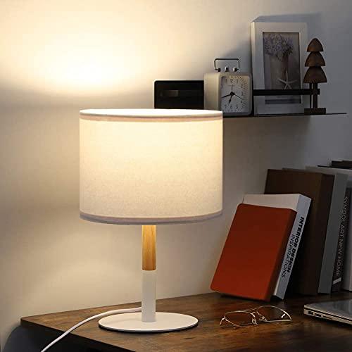 EDISHINE Lámpara de mesa vintage, lámpara de mesa de madera con pantalla de lino blanco, casquillo E27, lámpara de noche de madera escandinava, lámpara de mesa para salón, dormitorio, certificado CE