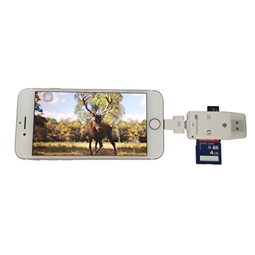 TSEAH SD MicroSD Card Reader for Apple iOS, Trail Cam Viewer Plays Deer Hunting Game Camera Scouting Video & Photo Memory on iPad iPhone 5, 6, 7, 8, X - Plus Free Lightning Extender & App (White)