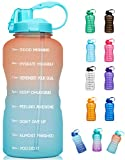 Giotto Large 1 Gallon/128oz (When Full) Motivational Water Bottle with Time Marker & Straw,...