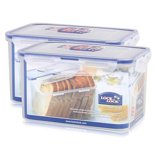 2 Stück Lock & Lock Frischhaltedose, Vorratsbox, Vorratsdose 1,9 Liter rechteckig, transparent, 205 x 134 x 118 mm, Set by Danto®