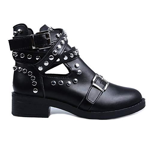 Botas de Mujer Moda Retro Bota Informal Tobillo con Hebilla Cinturón Gran Tamaño Estudiantes Boot Zapatos con Cordones de Cuero con Cordones Zapatos Mujer Plataforma riou