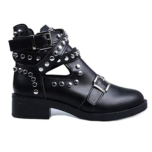 JJHAEVDY Women's Rivets Cross Strap Cut-Out Ankle Boots Fashion Low Heels Buckle Punk Motorcycle Bootie Combat Boot Black