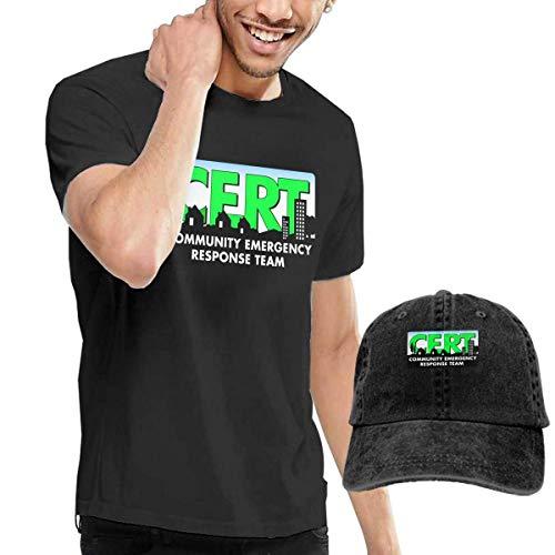 sunminey Herren Kurzarmshirt CERT-Community Emergency Response Team Washed Baseball-Cap + T-Shirt Combo Set