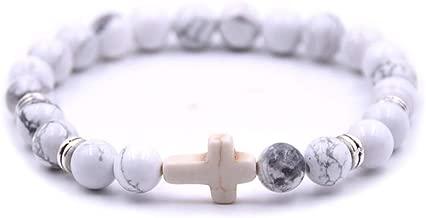 Softones 8mm Beads Cross Bracelet for Women Men Natural Stone Elastic Link Prayer Bracelet for Boy Girls,with Gift Box