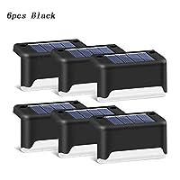 ソーラーライト ソーラーフェンスランプ屋外のガーデン風景ライト防水パス階段壁ランプ太陽バルコニーのフェンスライト HYBJP (Color : ブラック, Size : 6pcs)