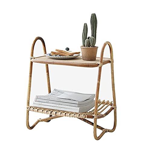 XIAOLIN Rattan Portátil Art Nordic Style Small Table De Café Sala De Estar Sofá Mesa De Esquina Top De Madera Top 2 Niveles De Almacenamiento - 18x13x20 Pulgadas
