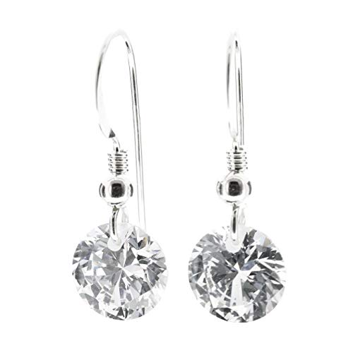 pewterhooter petite 925 Sterling Silver drop earrings for women made with sparkling crystal. Gift box. Made in the UK. Hypoallergenic & Nickle Free for Sensitive Ears.