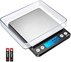 AMIR Digital Kitchen Scale Upgraded, 500g/0.01g Mini Pocket Jewelry Scale, Cooking Food Scale with Back-Lit LCD Display, 2 Trays, 6 Units, Auto Off, Tare, PCS Function, Stainless Steel
