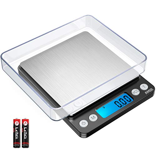 AMIR Digital Kitchen Scale, 500g/0.01g Mini Pocket Jewelry Scale, Cooking Food Scale with Backlit LCD Display, 2 Trays, 6 Units, Auto Off, Tare, PCS Function, Stainless Steel, Battery Included, Black