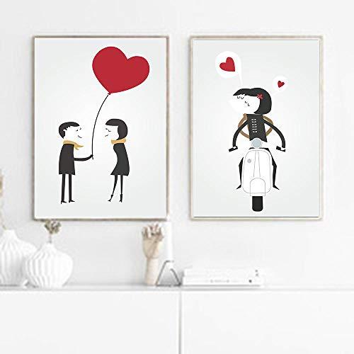 Decoratie ballon gekrittelde posters en afdrukken Banksy canvas schilderij graffitiwand Pop Art afdrukken voor de woonkamer 40x50cmx2 niet ingelijst