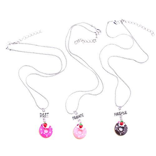 STOBOK Collar de aleación con forma de donut de 3 piezas, collar de aleación con forma de donut. Regalos del mejor amigo para niñas, colgante joyas para el cuello para niños y amigos