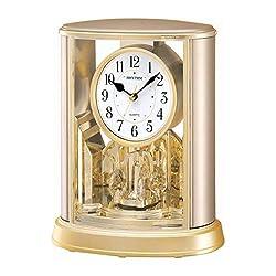CAO-Decor Mantel Table Clock, Crystals Tone Mantle Clocks with Rotating Pendulum, Mechanical Quartz Silent Desk Shelf Ornaments Clock, Stylish Rhythm Matle Clock, 19.6x24.0cm,a